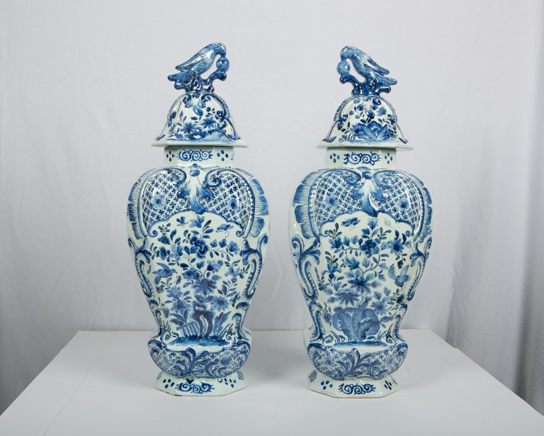 Large Antique Blue And White Delft Covered Vases Bardith Ltd