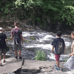 These students decided to go on a hike to one of the multiple waterfalls of Bard's campus!