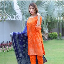 3 PC Digital Printed Embroidered Lawn