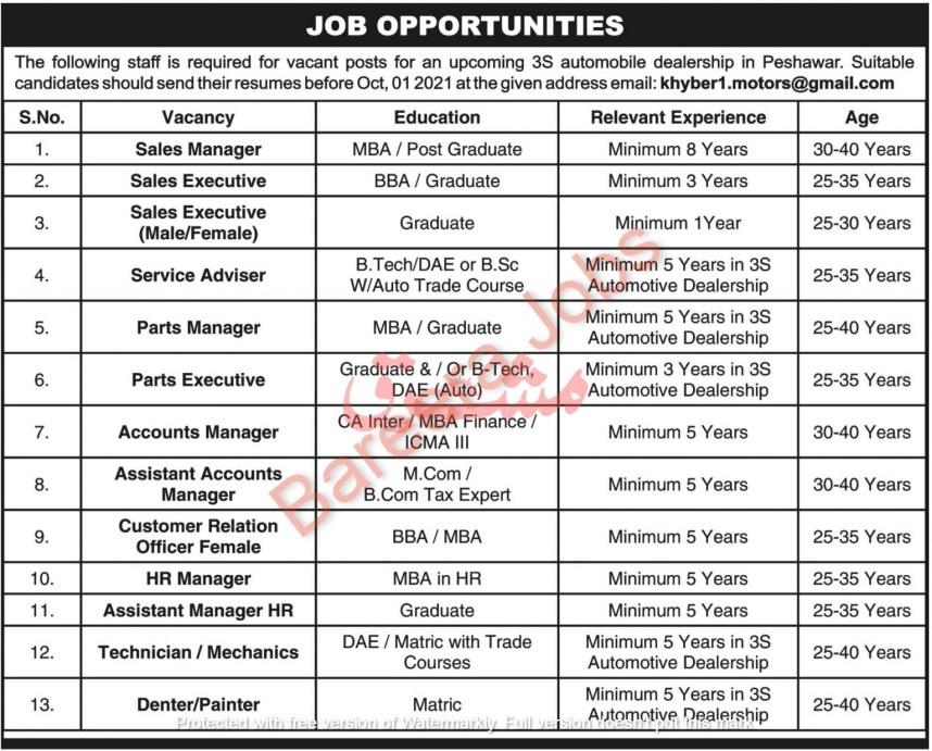 3S Automobile Peshawar Jobs September 2021