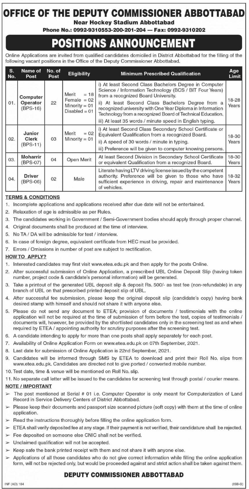 Deputy Commissioner Officer Abbottabad Jobs 2021