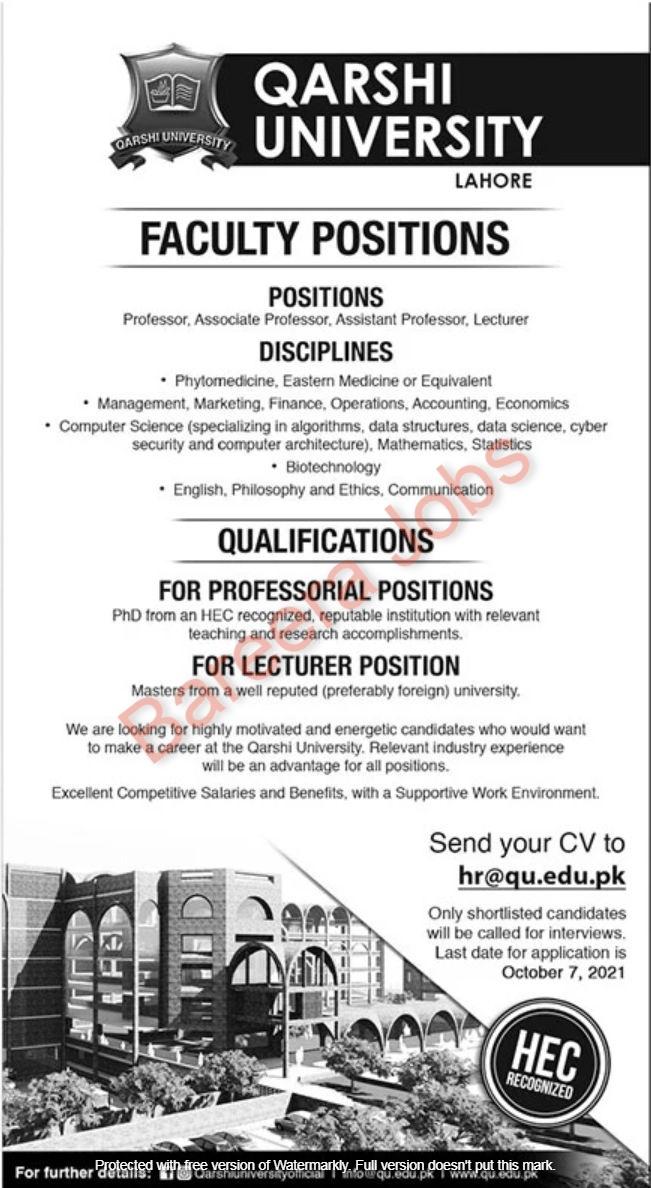 Qarshi University Lahore Jobs September 2021