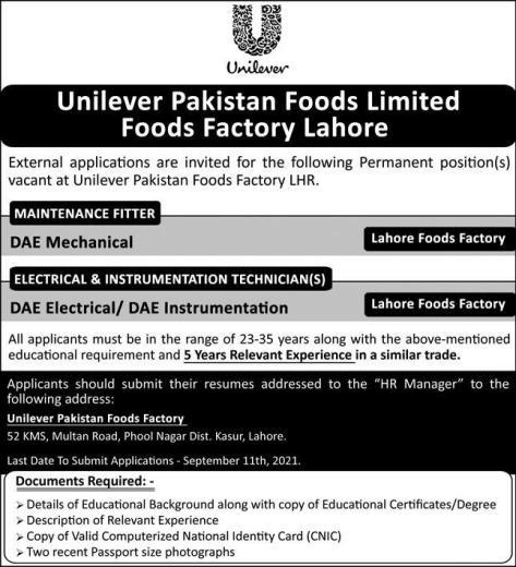 Unilever Pakistan Jobs September 2021