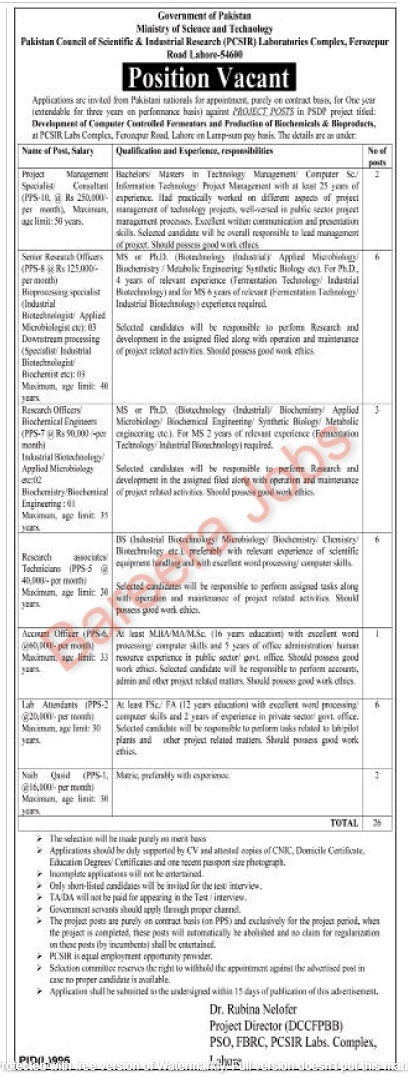 Pakistan Council of Scientific & Industrial Jobs 2021