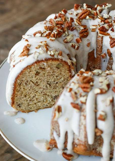 Banana Bundt Cake with Cinnamon Cream Cheese Icing - traditional and gluten free recipes at barefeetinthekitchen.com