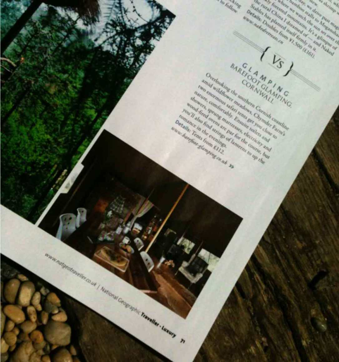 barefoot glamping cornwall in national geographic magazine