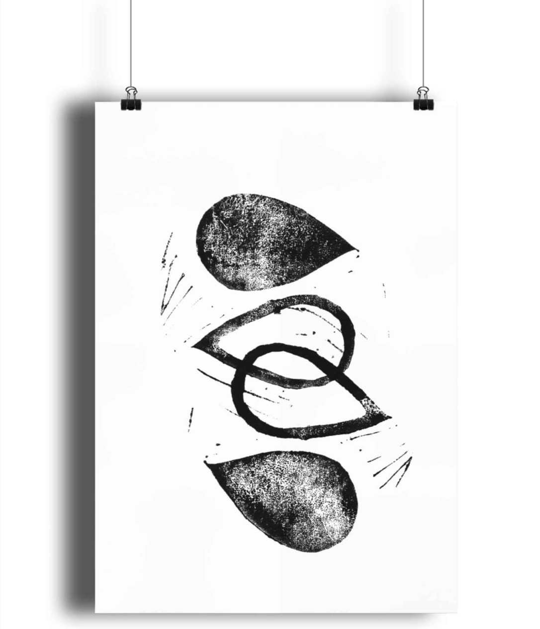 abstract black and white art print