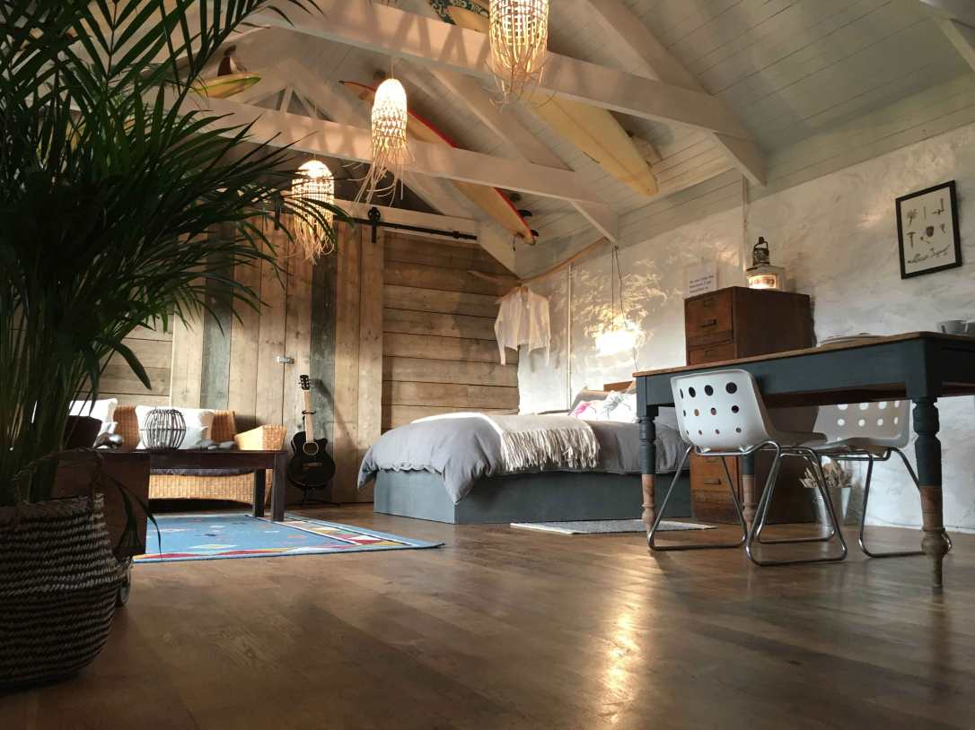 the barn's spacious open plan living area