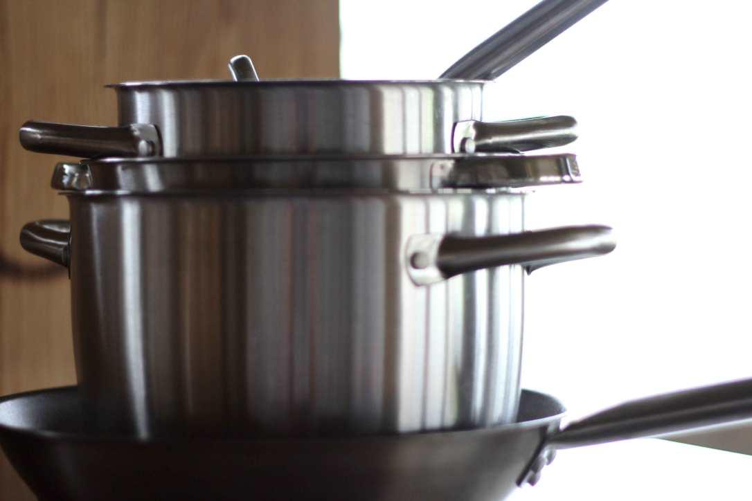 stainless steel saucepans in the safari tent kitchen