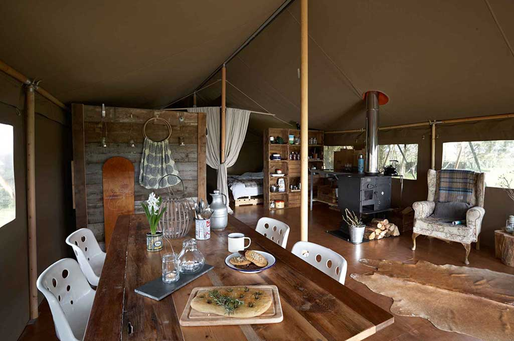 the large open plan living area inside hobie the safari tent