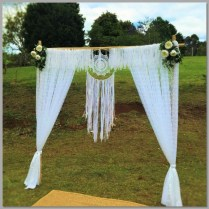 Arbour with lace curtains, lace garland & dreamcatcher.
