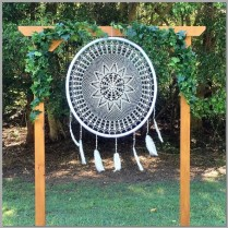 Timber wedding arbour styled with dreamcatcher and green ivy - Buderim Forrest Park, Buderim.