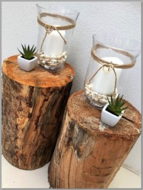 Glass hurricane vase decorated with candle/shell decor & succulents - aisle decor - timber log for display only.