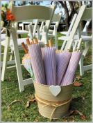 Bucket of white parasols.