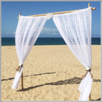 Wedding lace arbour with burlap ties - Moffat Beach