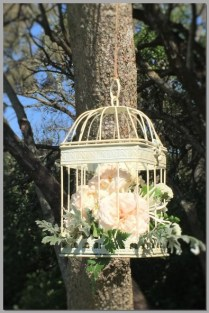 Hanging birdcage with fresh flowers.