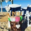 Basket of beach parasols - Wedding Kawana Beach.