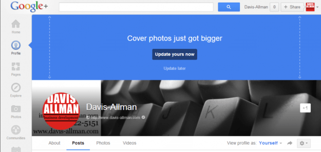 Google's announcement of the Google+ cover image change
