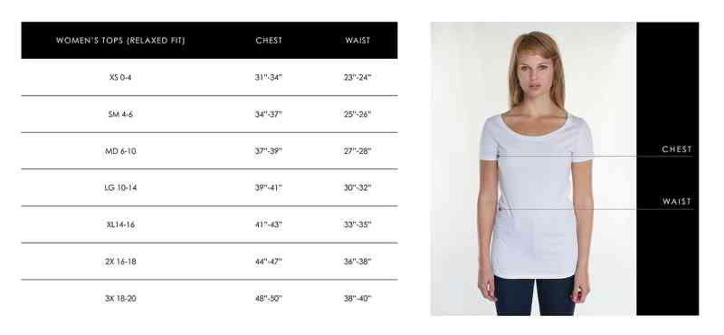 Women's Size Chart for Tops