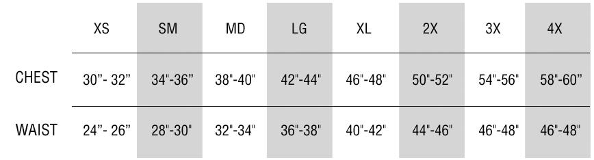 Unisex Tees Size Chart