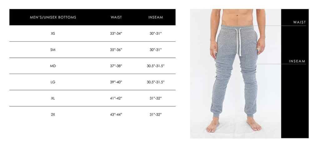 Unisex Pants Sizing