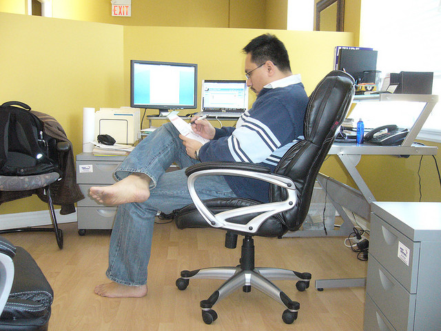 Barefoot at the office