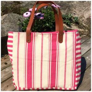 Strandveske stripet rosa