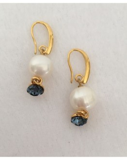 Øredobber med perle og blå Swarovski-krystaller