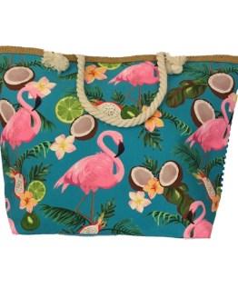 Strandveske turkis flamingo, front