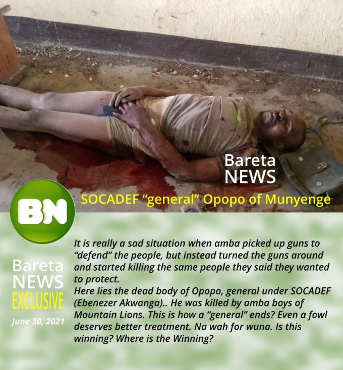 Bareta News on Opopo just after he was killed by amba boys of Mountain Lion - the dead body