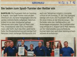 Ankündigung der Hildesheimer Allgemeine Zeitung zum 4. Kampf am Zitterbach