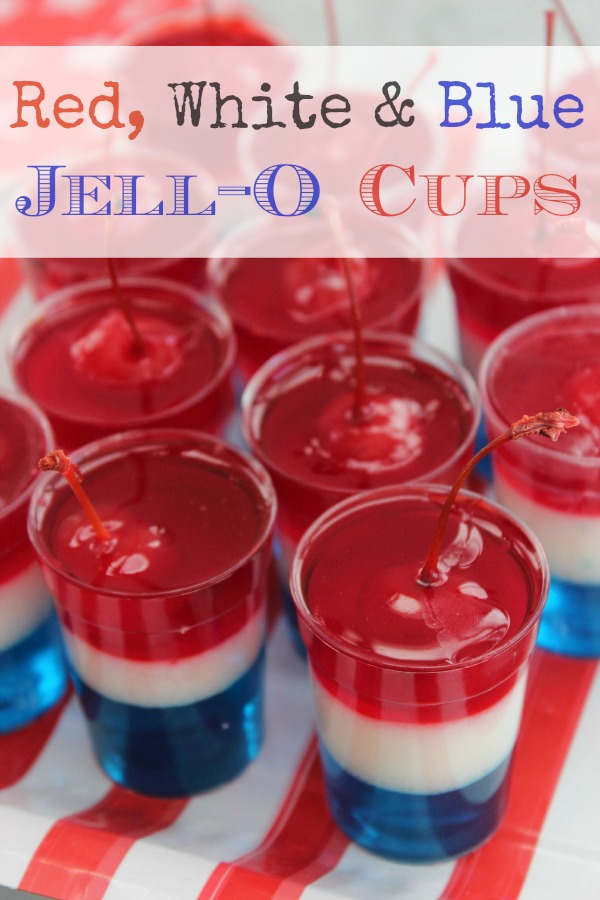 Red, White & Blue Jell-O Cups from Bargain Briana [Independence Day Menu Ideas at High-Heeled Love]