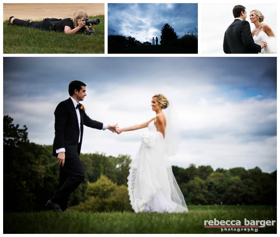 Steph and Zack on the lovely grounds of the Aronimink Golf Club, her gown is Robert Bullock purchased at Designer Loft Bridal in NYC.