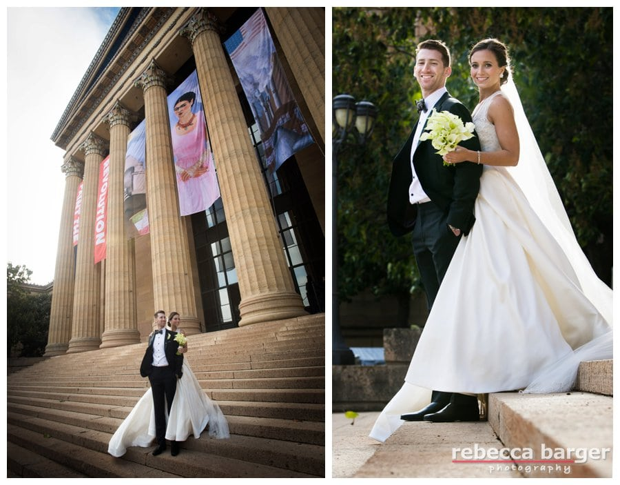 Windy wedding day photos on the Phila. Art Museum stairs., Rebecca Barger Photography.