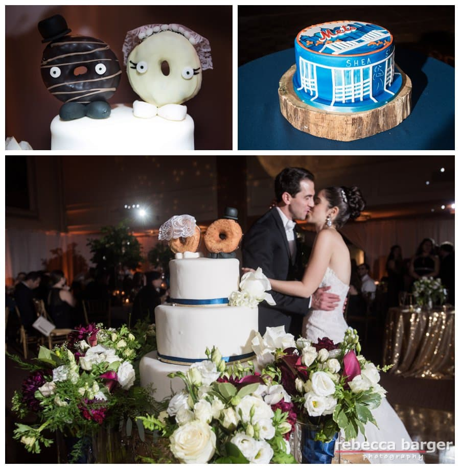 Mazel Tov, Logan + Yoni, have a good night kiss in front of your cake by Feast Your Eyes Catering.