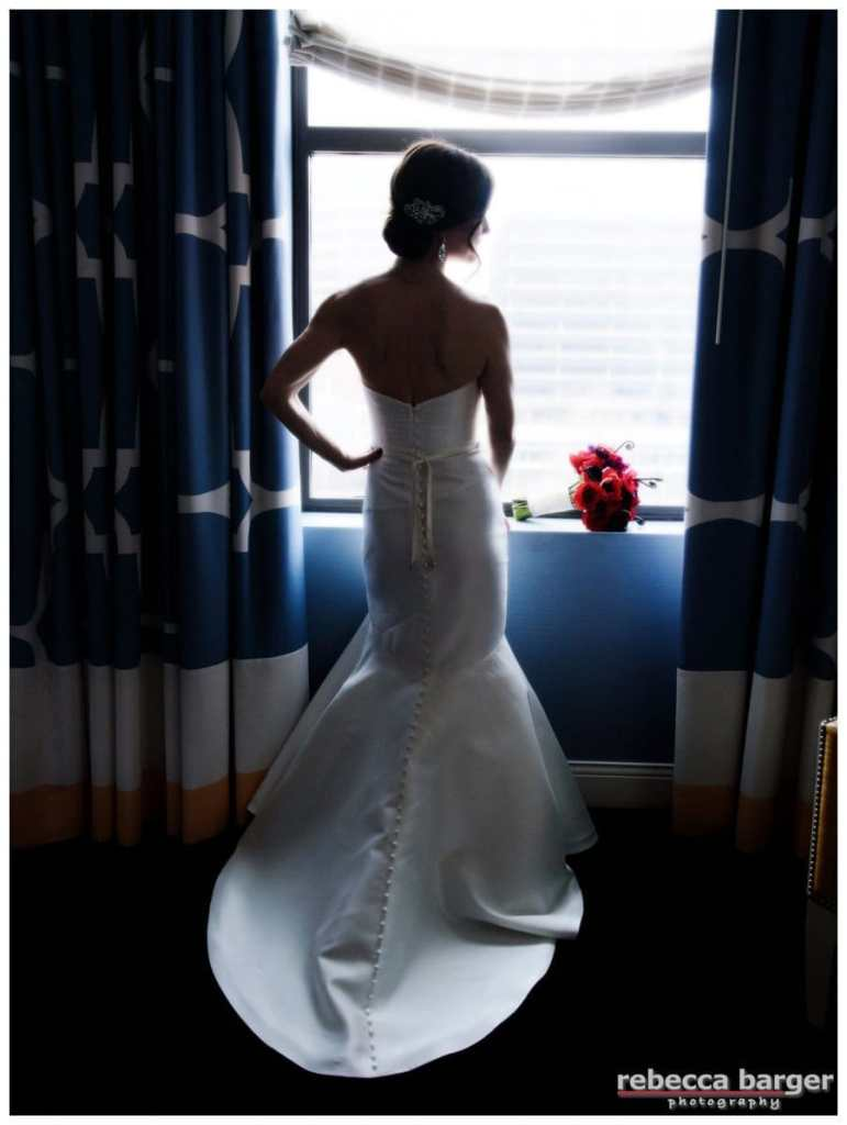 Tracey in her Martina Liana gown from Philly Bride, hair by Amanda D'Andrea, flowers by Fabufloras.
