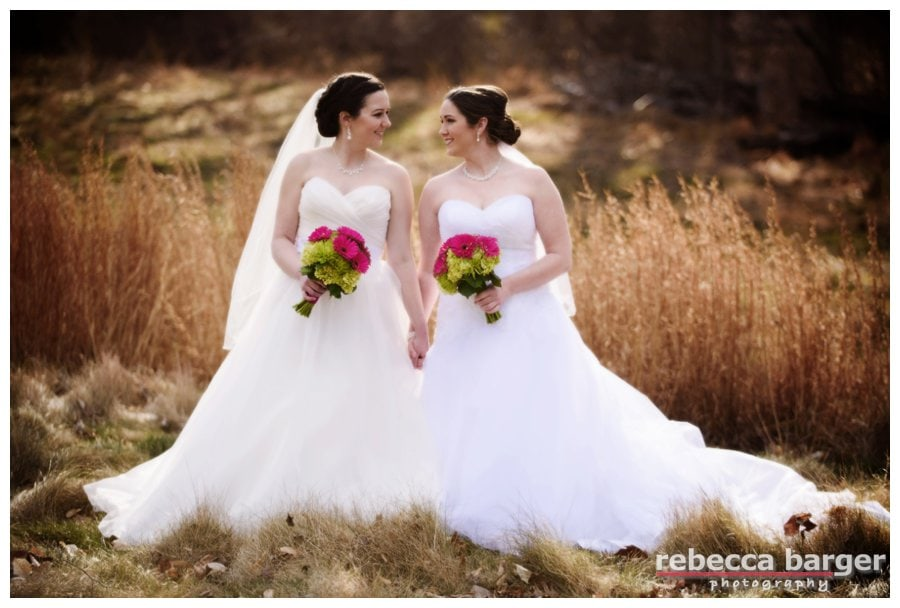 Meagan + Angie on their wedding day on the grounds of Brantwyn Estate. Rebecca Barger Photography.