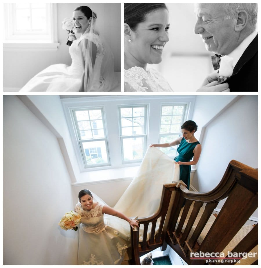 Heading down the staircase in her family home, Kiera and her sister Cessa head to the church!