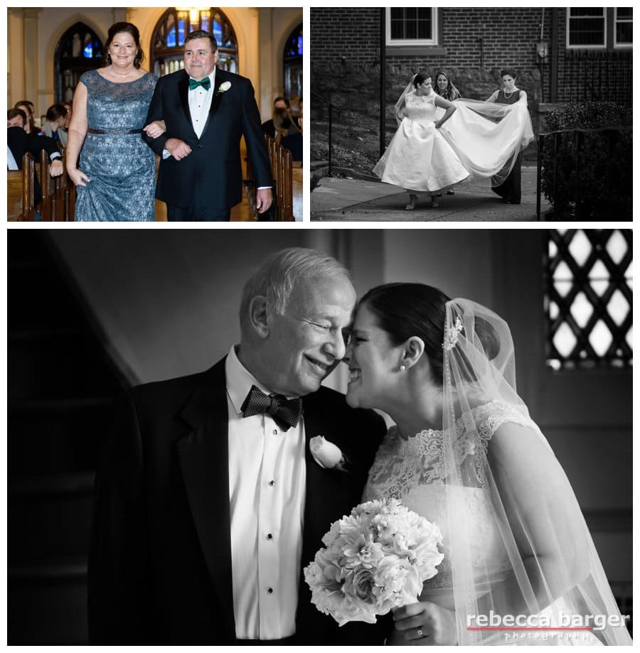Kiera shares a moment with her dad right before they head down the aisle at St. Bridget's in East Falls, Phila. A wedding coordinator's assistance is great for situations like scampering through the light drizzle and keeping that gown dry. Thank you Seeds of Celebration wedding planners!