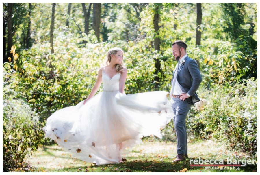 Love a bride that knows how to sing that gown, Anthony Wayne house, Rebecca Barger Photography.