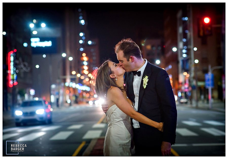 A good night kiss on Broad Street, what a lovely day to get married! Best Wishes Emily & Johnny, Rebecca Barger Photography.