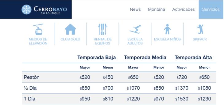 tarifas cerro bayo 2018