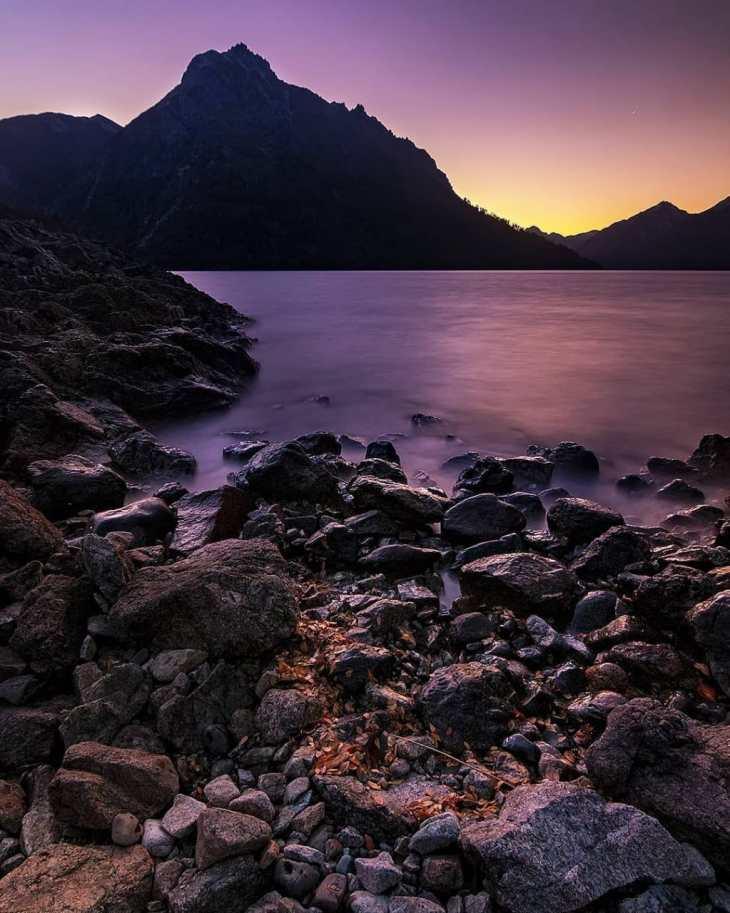 Anoitece em Bariloche no verão.