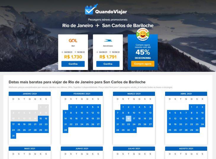 passagens aéreas baratas para Bariloche