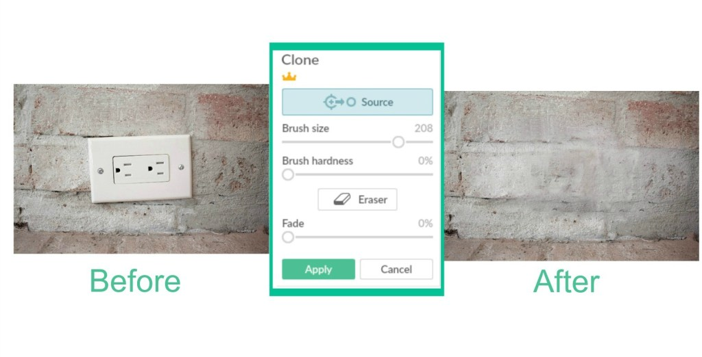 clone tool shows how items can be cloned out of photo