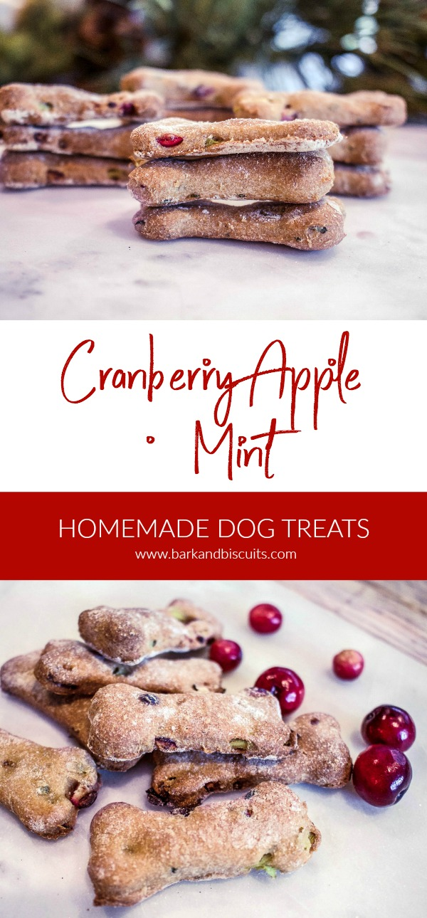 Cranberry, Apple and Mint Dog Biscuits. #dogtreats #holiday