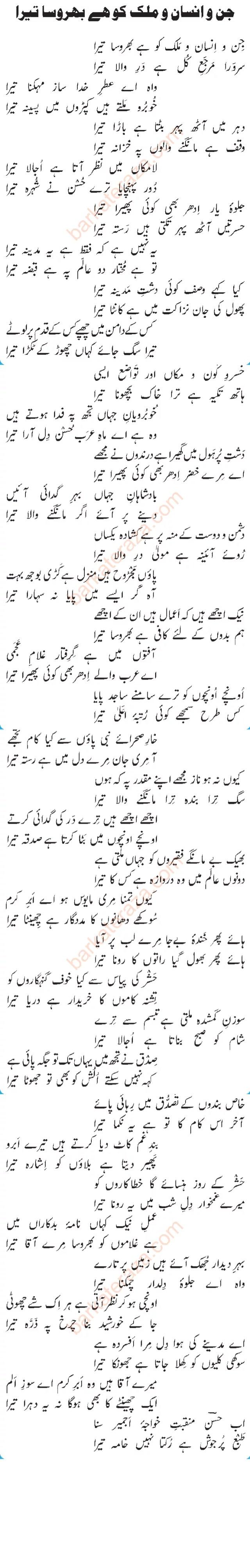 Jinno Insano Malak Ko Hai Bharosa Tera Lyrics