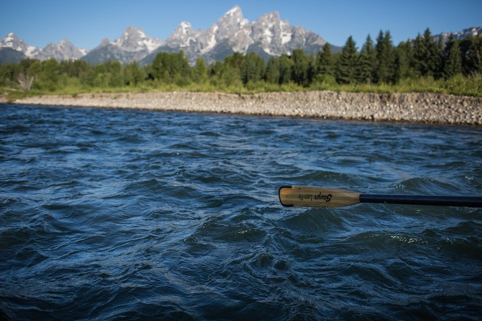 Grand Tetons from a Barker Ewing raft- Snake River float trips