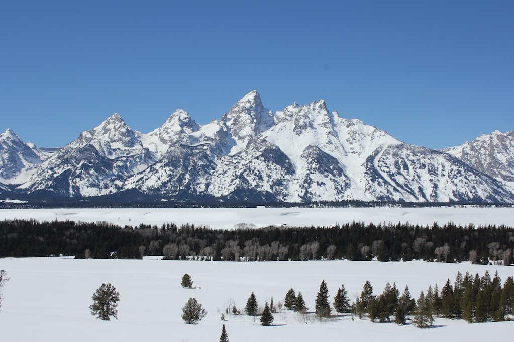 Teton Range covered in snow