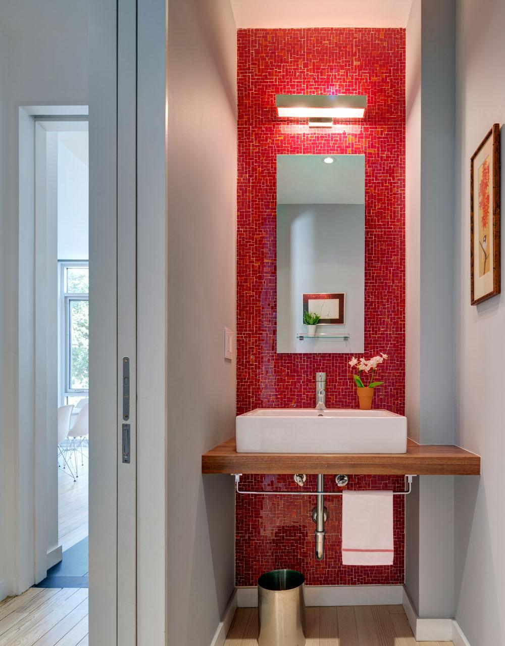 East Williamsburg Rowhouse | Barker Freeman on red and zebra print bathroom decorating ideas, red bathroom decor, red christmas lights,